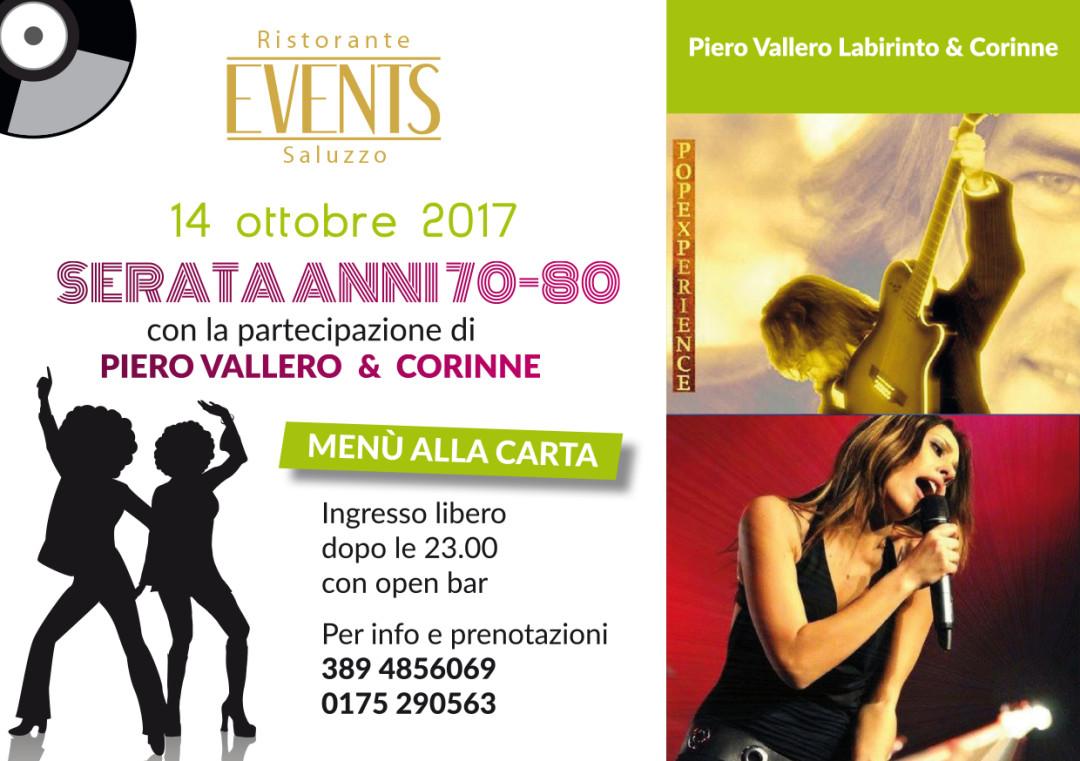 Events A5 14 ottobre serata anni 70-80 PIERO VALLERO & CORINNE