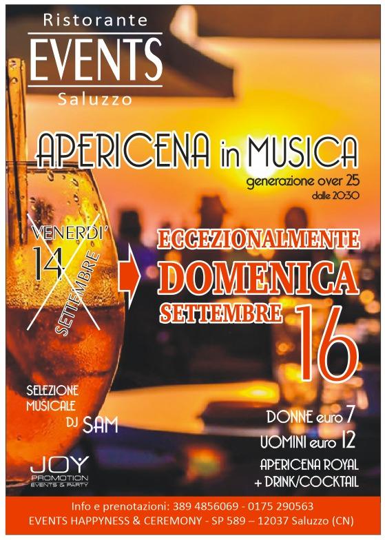 DOMENICA 16 SETTEMBRE APERICENA IN MUSICA