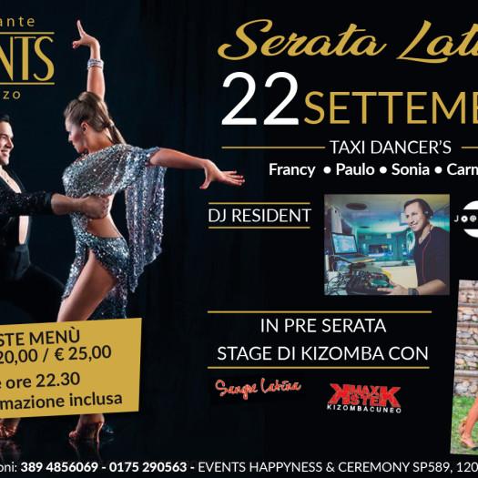 Events 22 settembre 2018 serata latina